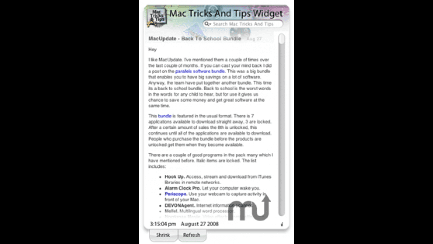 Mac Tricks And Tips Widget for Mac - review, screenshots