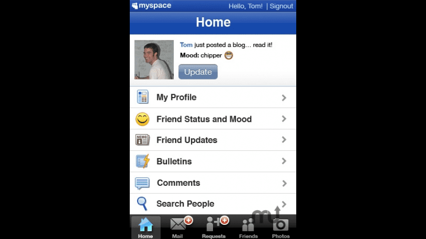 MySpace Mobile for Mac - review, screenshots