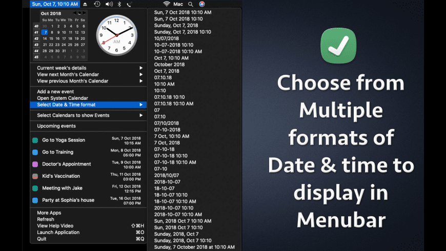 Menubar Calendar for Mac - review, screenshots