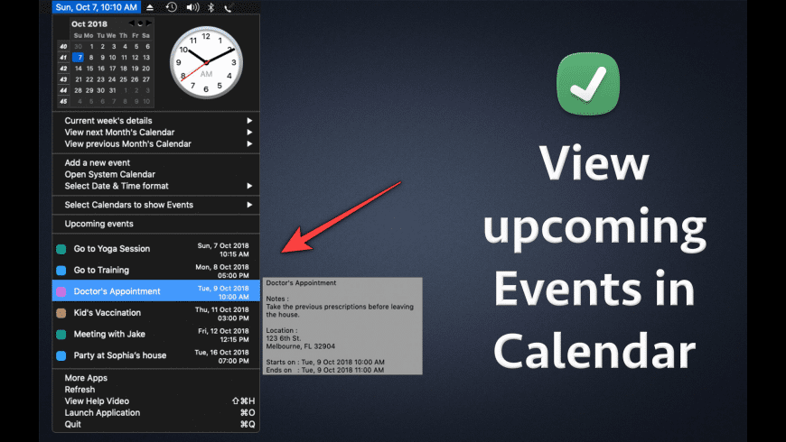 Menubar Calendar for Mac - review, screenshots