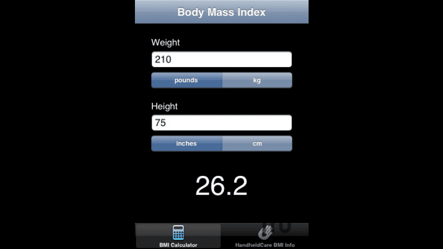 Body Mass Index for Mac - review, screenshots