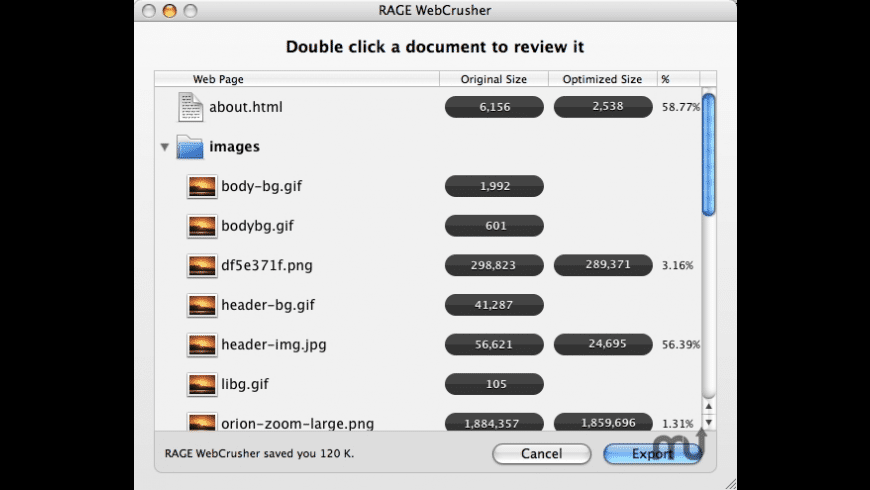 WebCrusher for Mac - review, screenshots
