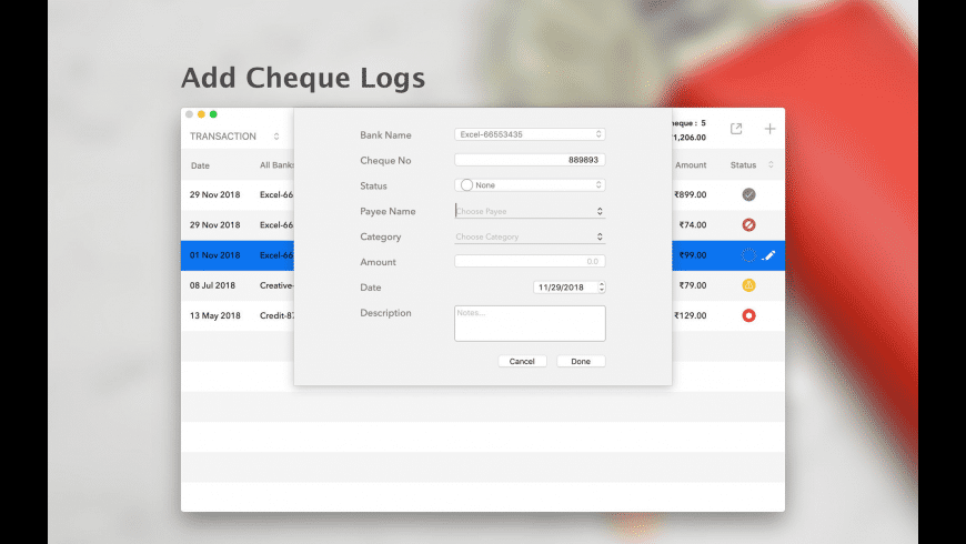 ChequeLog for Mac - review, screenshots