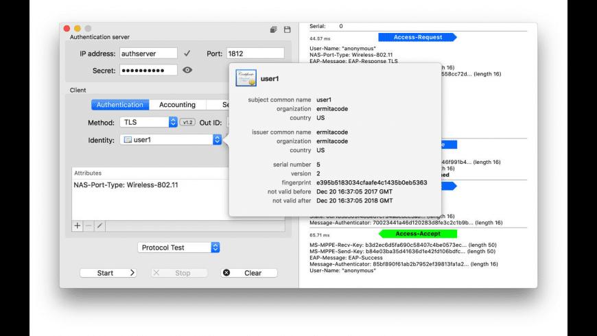 EAPTest for Mac - review, screenshots