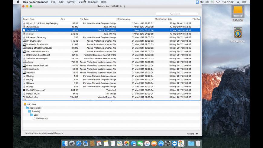 Hex Folder Searcher for Mac - review, screenshots