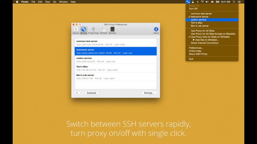 SSH Proxy for Mac - review, screenshots