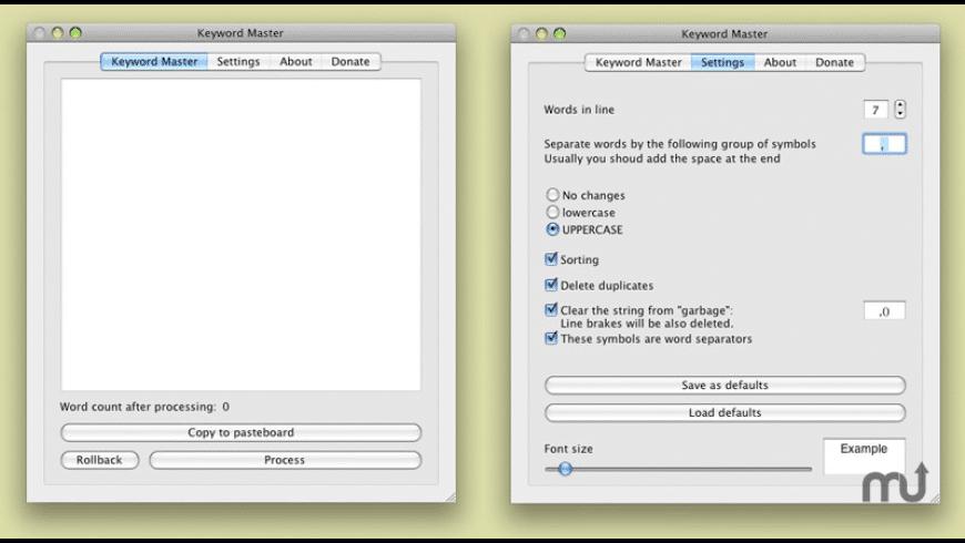 Keyword Master for Mac - review, screenshots