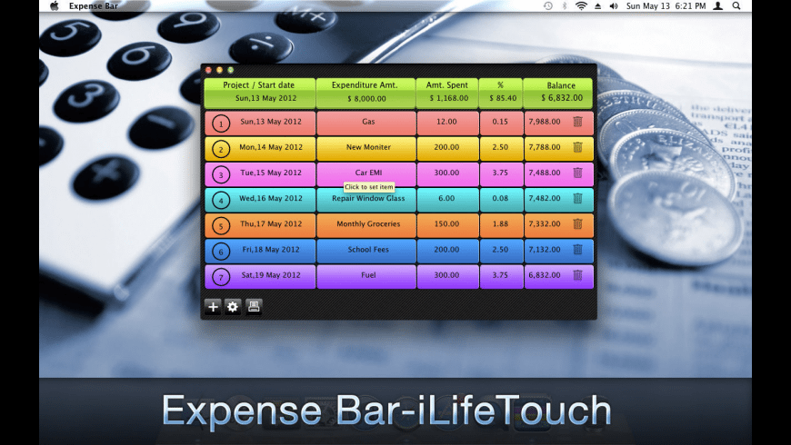 Expense Bar for Mac - review, screenshots