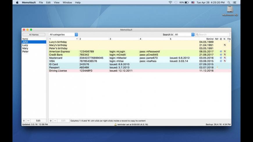 MemoVault for Mac - review, screenshots