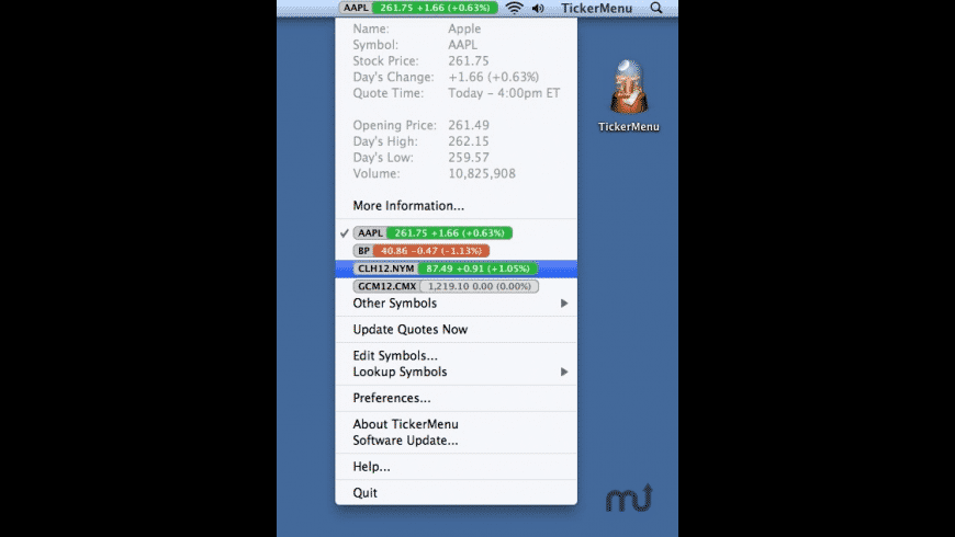 TickerMenu for Mac - review, screenshots