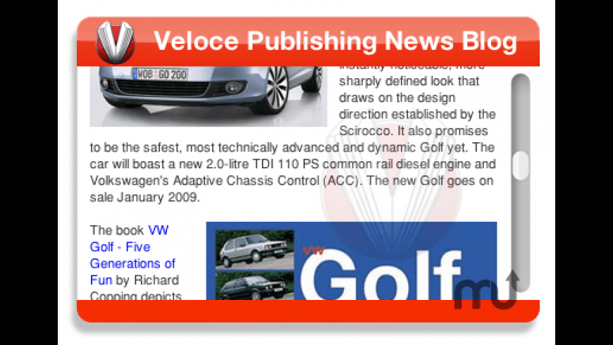Veloce Publishing Blog Widget for Mac - review, screenshots