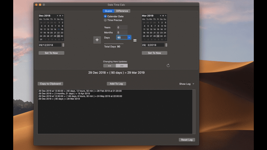 Date Time Calc for Mac - review, screenshots