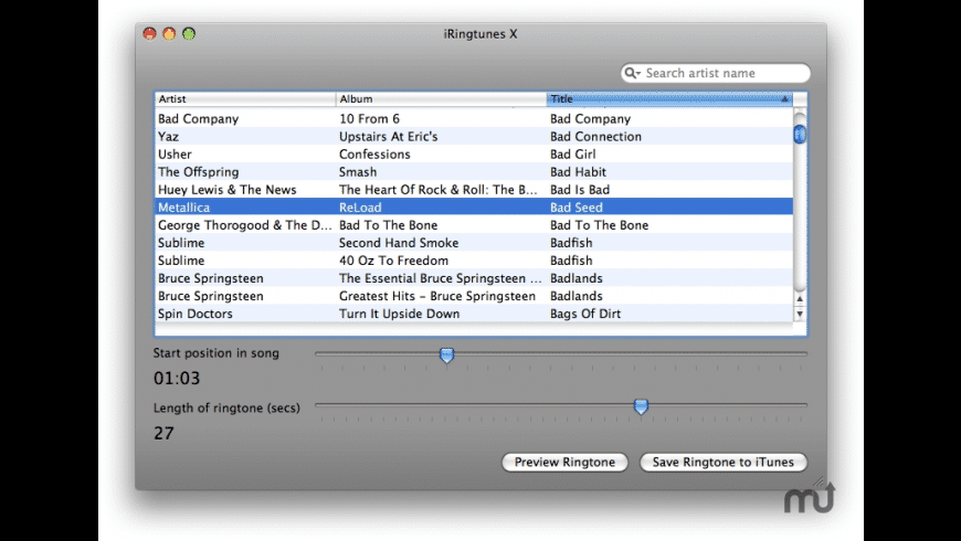iRingtunes X for Mac - review, screenshots