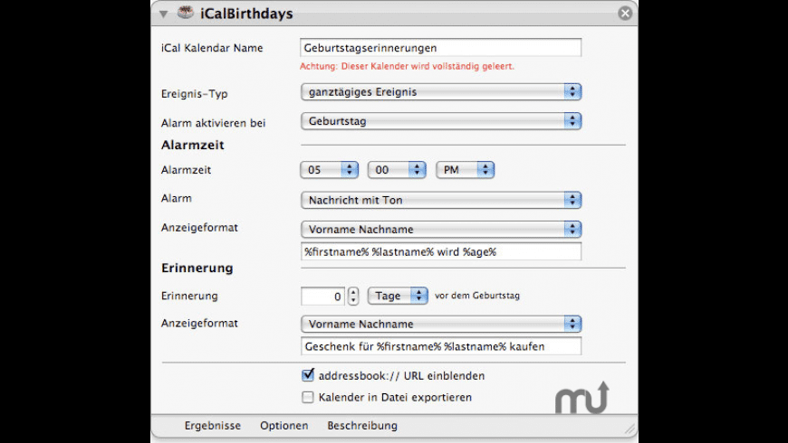 iCalBirthdays for Mac - review, screenshots