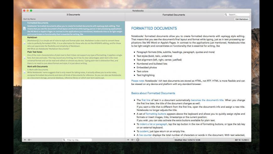 Notebooks for Mac - review, screenshots