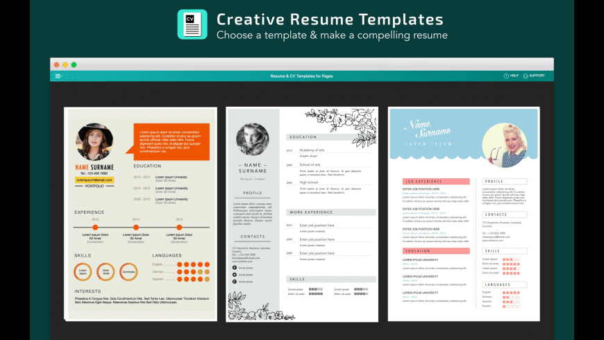 Resume, CV Templates for Pages for Mac - Free Download ...