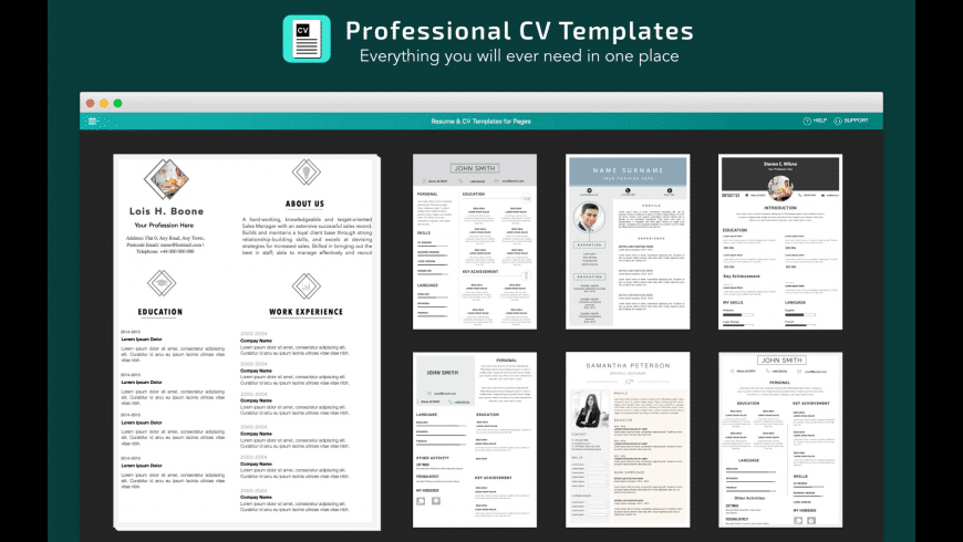 Resume, CV Templates for Pages for Mac - review, screenshots