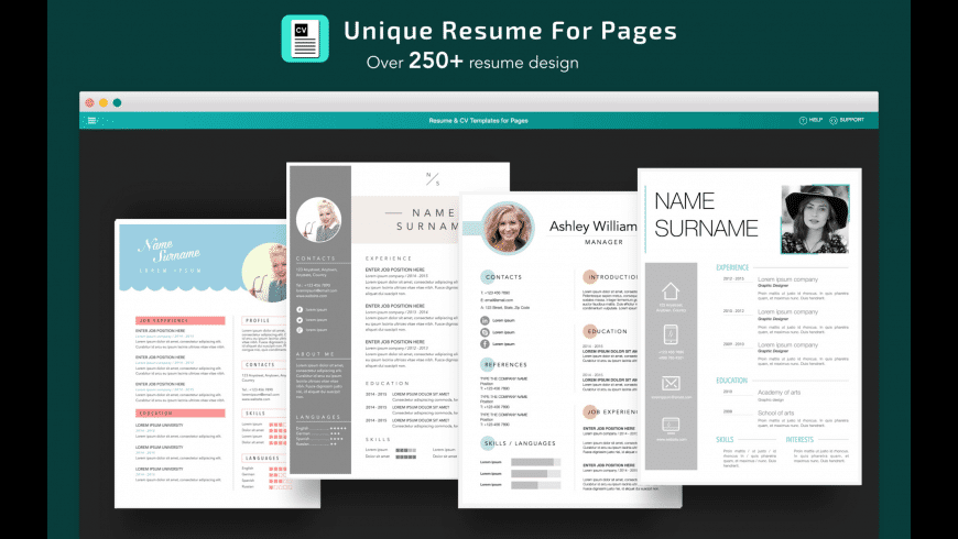 resume  cv templates for pages for mac