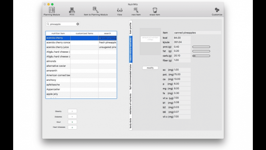 NutriWiz for Mac - review, screenshots
