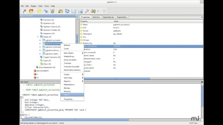 pgAdmin3 for Mac - review, screenshots