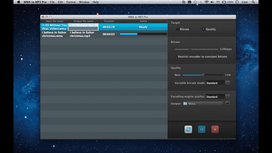 WMA to MP3 Pro for Mac - review, screenshots