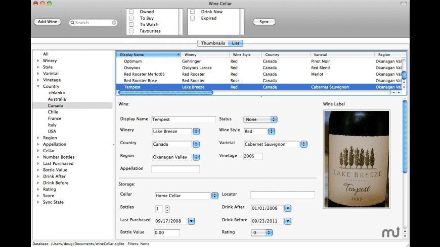 Cadent wineCellar for Mac - review, screenshots