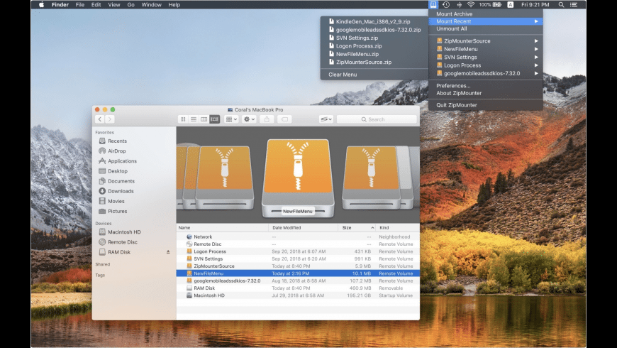 ZipMounter for Mac - review, screenshots