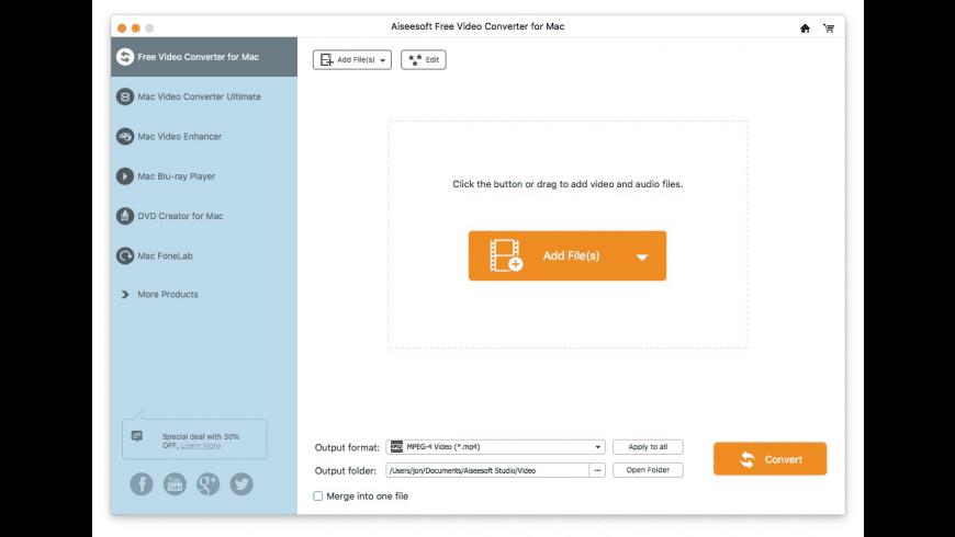 Aiseesoft Free Video Converter for Mac - review, screenshots