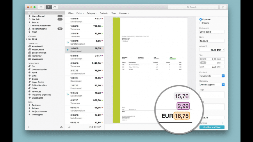 Receipts for Mac - review, screenshots