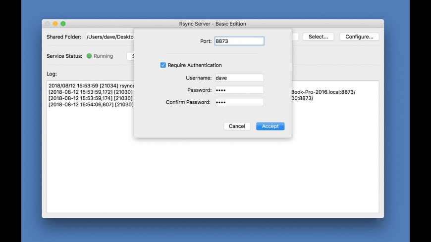 Rsync Server - Basic Edition for Mac - review, screenshots