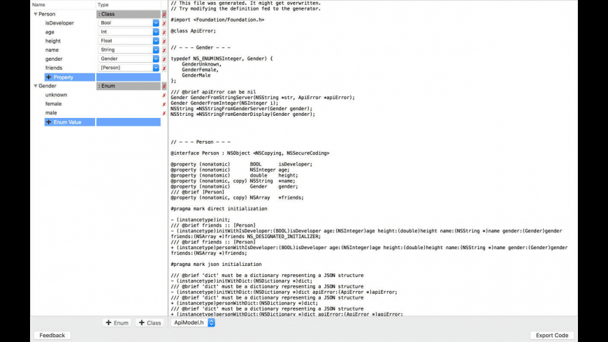 JSON Class Generator for Mac - review, screenshots
