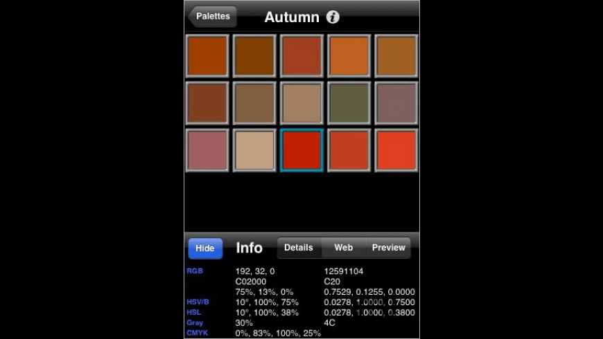 Palettes for Mac - review, screenshots