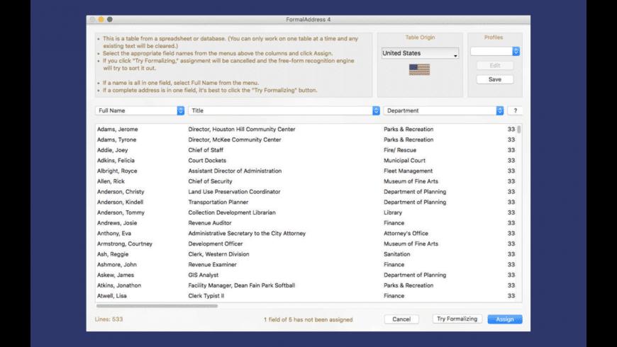 FormalAddress 4 for Mac - review, screenshots