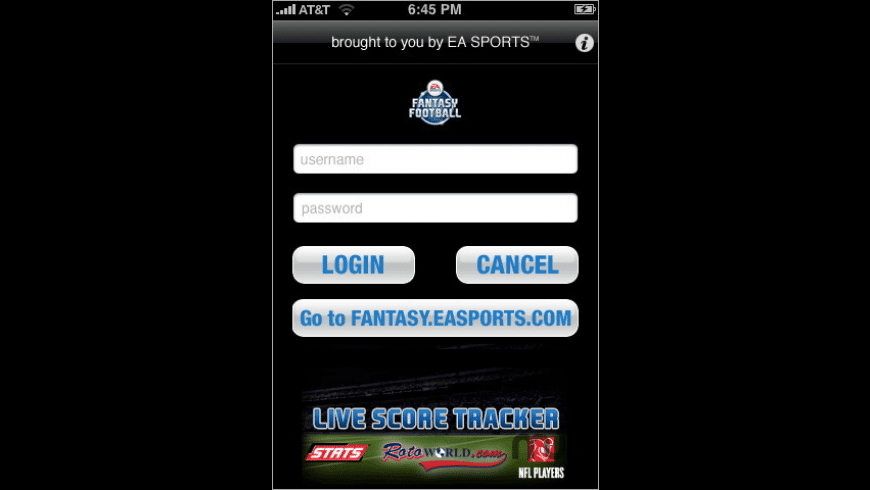 EA Sports Fantasy Football Live Score Tracker for Mac - review, screenshots