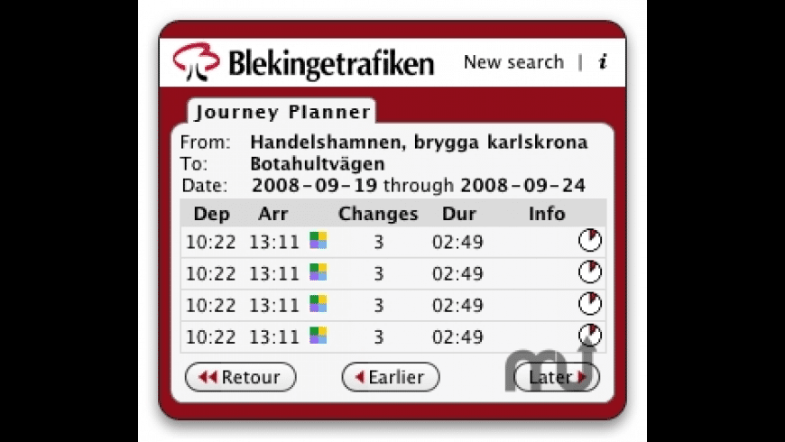 Blekingetrafiken for Mac - review, screenshots