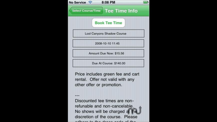 Tee Times for Mac - review, screenshots