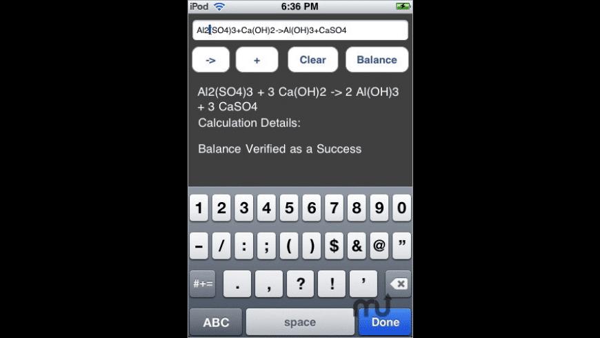 Chemical Equation Balancer for Mac - review, screenshots