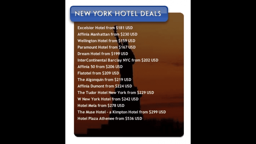 New York Hotel Deals for Mac - review, screenshots