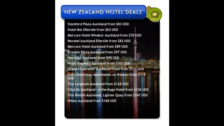New Zealand Hotel Deals for Mac - review, screenshots