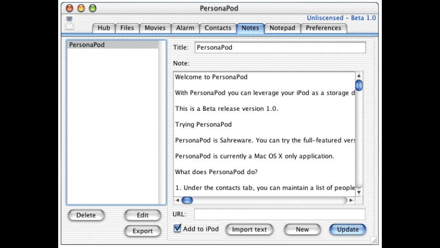 PersonaPodX for Mac - review, screenshots