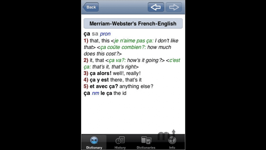 Merriam-Webster's French-English Dictionary for Mac - review, screenshots