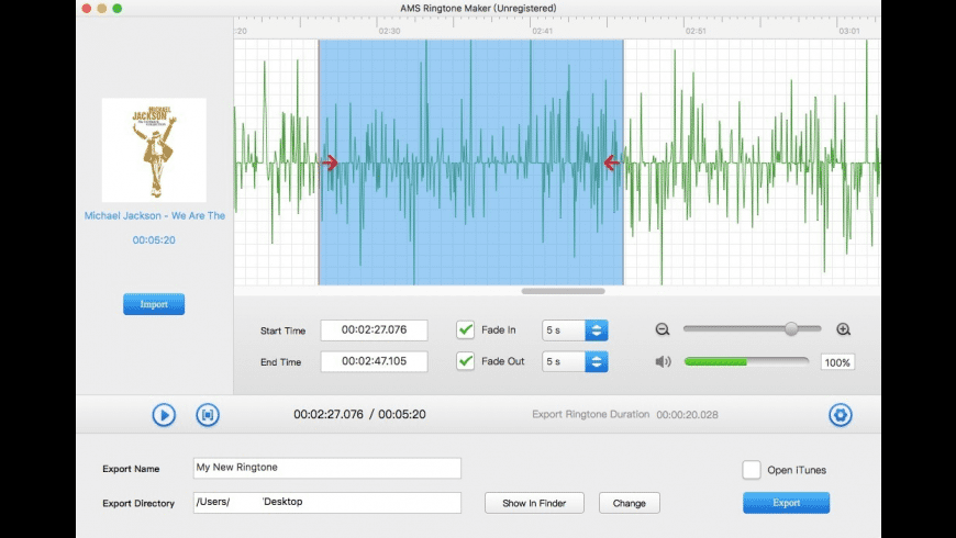 AMS Ringtone Maker for Mac - review, screenshots