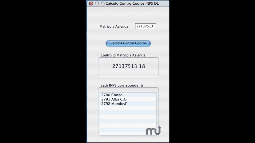 Calcolo ControCodice INPS for Mac - review, screenshots