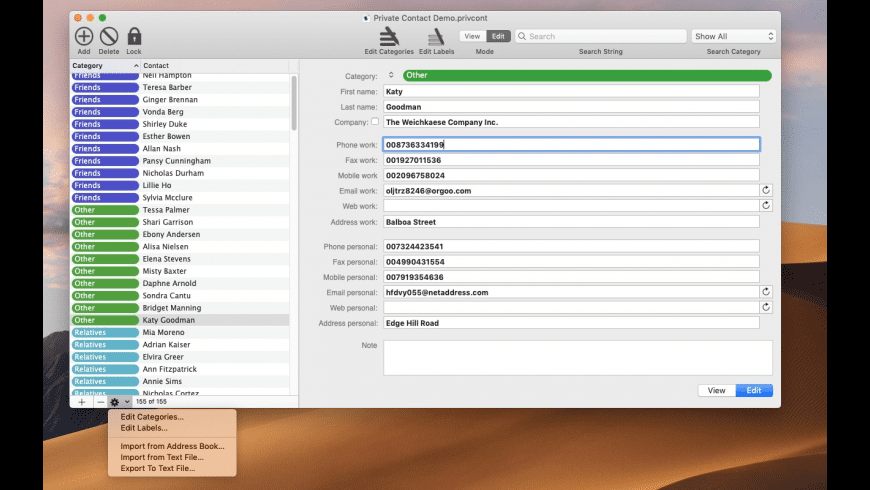 Private Contact for Mac - review, screenshots