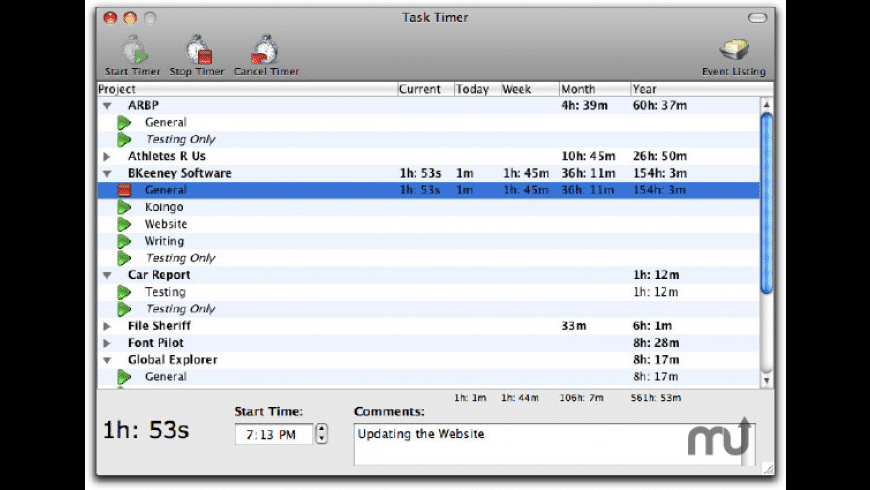 Task Timer for Mac - review, screenshots