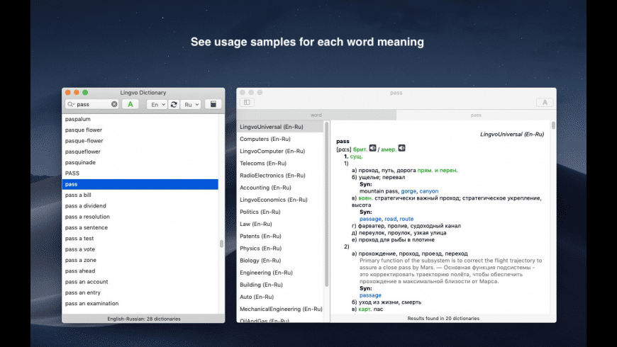 Lingvo Dictionary for Mac - review, screenshots