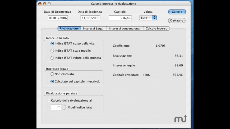 Calcolo Interessi e Rivalutazione for Mac - review, screenshots