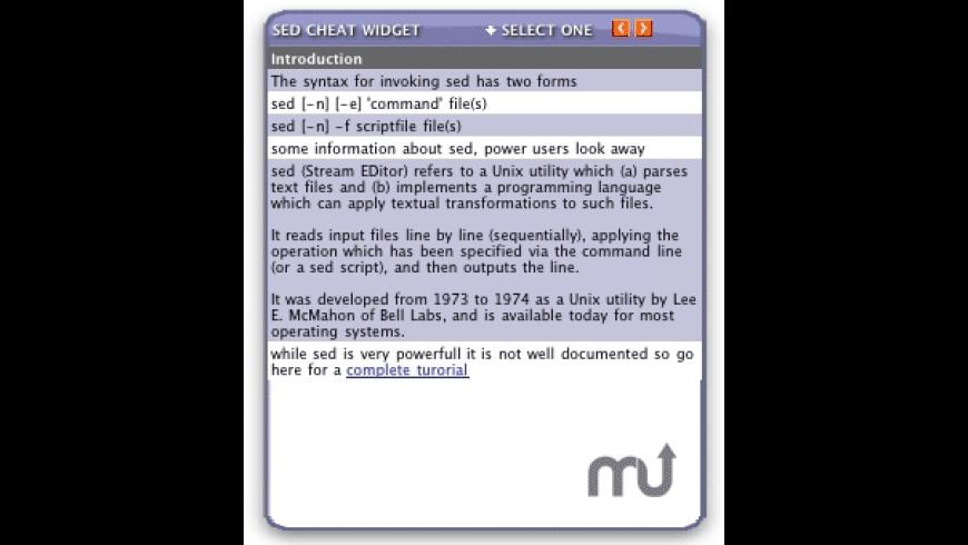 sed Cheat Widget for Mac - review, screenshots