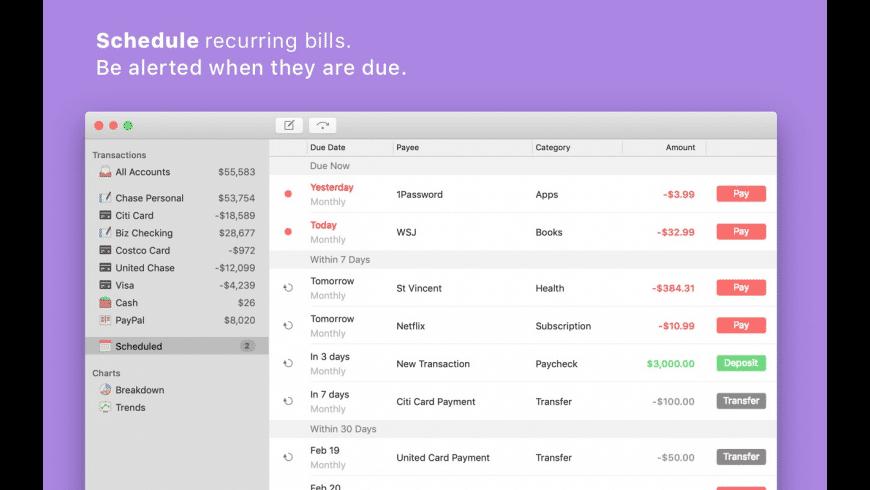 Savings for Mac - review, screenshots