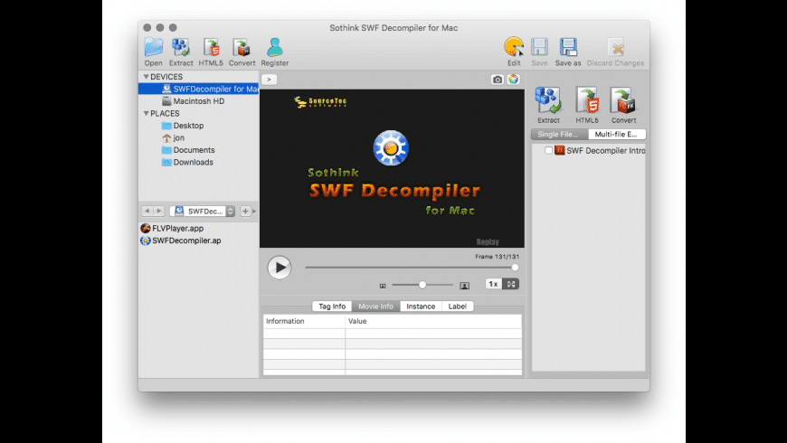 Sothink SWF Decompiler for Mac - review, screenshots